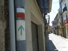 Señal de la ruta del Meridiano Verde en Roda de Ter.