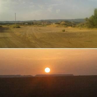 Imagen superior: luegar del avituallamiento de Villanueva de Sixena... ni un alma... cuánta diferencia. Imagen inferior, momento mágico del amanecer.